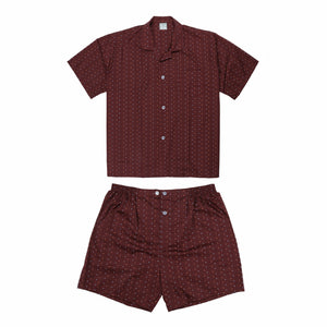 Koala Summer Cotton Blend Pyjama Set in Burgundy