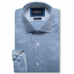 Brooksfield Luxe Textured Weave Shirt Aqua