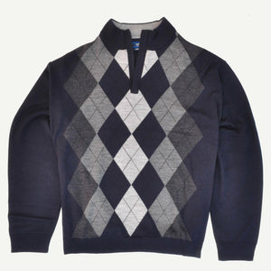 Sovrano 1/2 Zipped Argyle Sweater in Navy