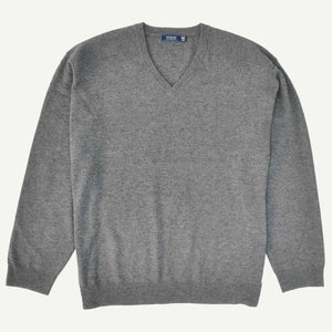 Sovrano V-Neck Cashmere Wool Jumper in Charcoal