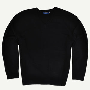 Sovrano V-Neck Cashmere Wool Jumper in Black