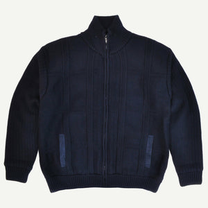 Sovrano Full Zip Woolen Cardigan in Navy