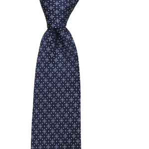 Bennett Signature Silk Tie in Blue Snowflake - Ron Bennett Big Men's Clothing - 1