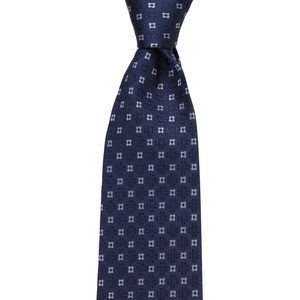 Bennett Signature Silk Tie in Navy Pattern - Ron Bennett Big Men's Clothing - 1