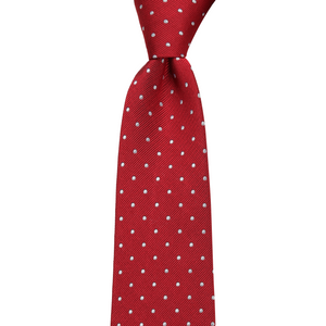 Bennett Signature Silk Tie in Red Polka - Ron Bennett Big Men's Clothing - 1