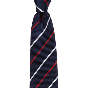 Bennett Signature Silk Tie in Navy Duo Stripe - Ron Bennett Big Men's Clothing - 1