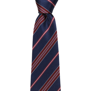 Bennett Signature Silk Tie in Burgundy / Navy Stripe - Ron Bennett Big Men's Clothing - 1