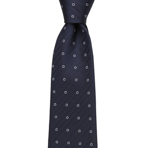 Bennett Signature Silk Tie in Navy Herringbone - Ron Bennett Big Men's Clothing - 1
