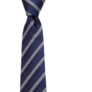 Bennett Signature Silk Tie in Navy Stripe - Ron Bennett Big Men's Clothing - 1