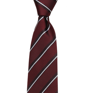 Bennett Signature Silk Tie in Burgundy Stripe - Ron Bennett Big Men's Clothing - 1