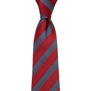 Bennett Signature Silk Tie in Red / Grey Stripe - Ron Bennett Big Men's Clothing - 1