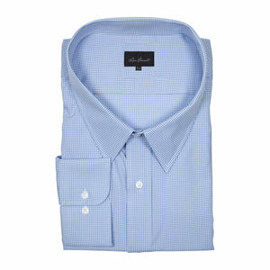 "Ron Bennett ""Easy-Care"" Cotton Business Shirt in Blue Check"
