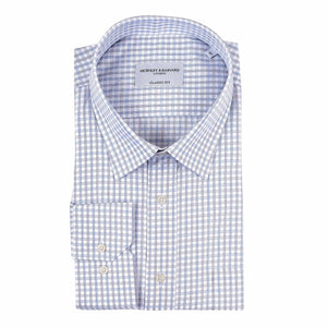 Nicholby & Harvard Futurism Check Business Shirt in Sky Blue - Ron Bennett Big Men's Clothing