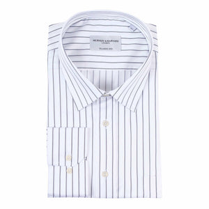 Nicholby & Harvard Dallas Striped Business Shirt in White & Black - Ron Bennett Big Men's Clothing
