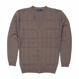 Sovrano Wool Cardigan Vneck in Taupe - Ron Bennett Big Men's Clothing