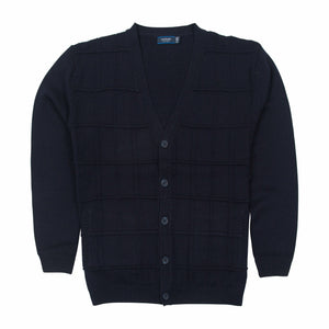 Sovrano Wool Cardigan Vneck in Navy - Ron Bennett Big Men's Clothing