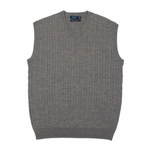 Sovrano Merino Extra Fine Wool Vest in Silver - Ron Bennett Big Men's Clothing