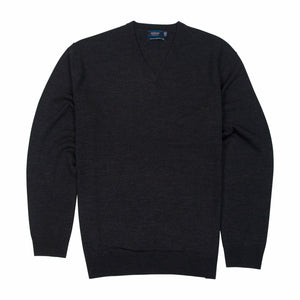 Sovrano Vneck Sweater Merino Extra Fine in Charcoal - Ron Bennett Big Men's Clothing