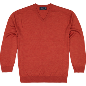 Sovrano V-Neck Merino Sweater in Rust - Ron Bennett Big Men's Clothing - 1