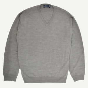 Sovrano V-Neck Merino Sweater in Khaki