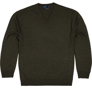 Sovrano V-Neck Merino Sweater in Bottle Green - Ron Bennett Big Men's Clothing - 1