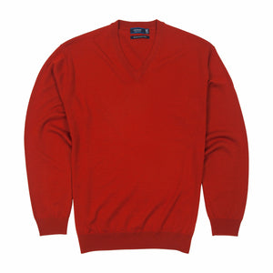 Sovrano Vneck Sweater Merino Extra Fine in Mandarine - Ron Bennett Big Men's Clothing