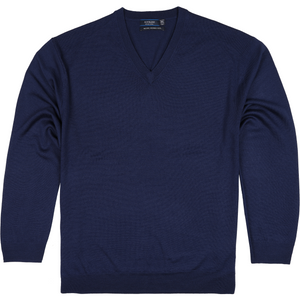 Sovrano V-Neck Merino Sweater in Blue - Ron Bennett Big Men's Clothing - 1