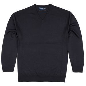 Sovrano V-Neck Merino Sweater in Navy - Ron Bennett Big Men's Clothing - 1