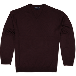 Sovrano V-Neck Merino Sweater in Wine - Ron Bennett Big Men's Clothing - 1