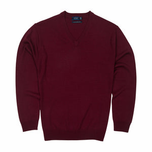 Sovrano Vneck Sweater Merino Extra Fine in Burgundy - Ron Bennett Big Men's Clothing