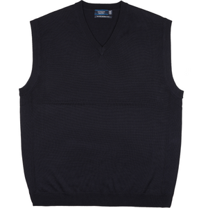 Sovrano Merino Extrafine Vest in Navy - Ron Bennett Big Men's Clothing - 1