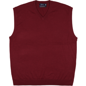 Sovrano Merino Extrafine Vest in Burgundy - Ron Bennett Big Men's Clothing - 1
