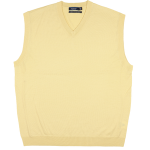 Sovrano Merino Extrafine Vest in Lemon - Ron Bennett Big Men's Clothing - 1