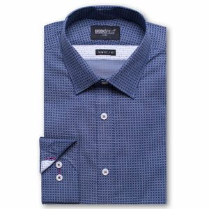 Brooksfield Luxe Textured Weave Shirt Navy