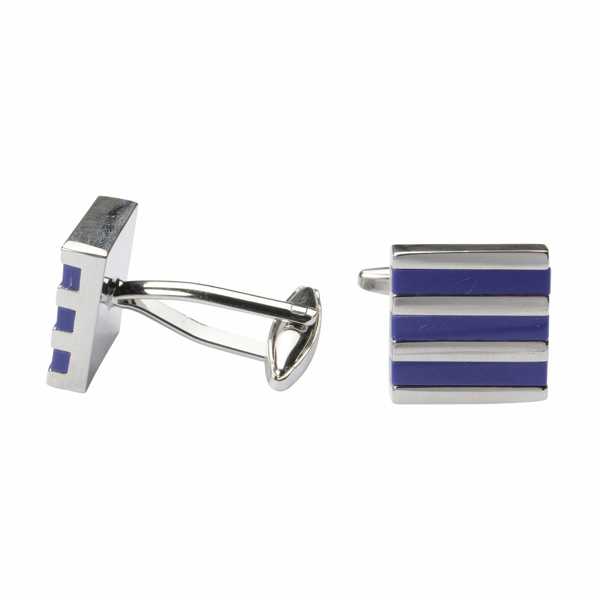 Bennett Signature Cufflinks in Stripe Blue - Ron Bennett Big Men's Clothing