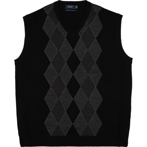 Sovrano Merino Wool Vest in Black - Ron Bennett Big Men's Clothing - 1