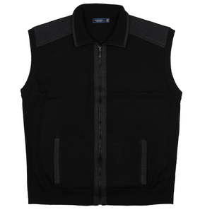 Sovrano Merino Wool Zip Vest n Black - Ron Bennett Big Men's Clothing - 1