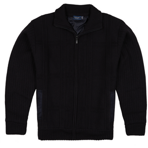 Sovrano Full Zip Lined Sweater in Navy - Ron Bennett Big Men's Clothing - 1