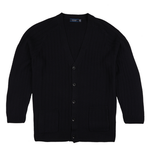 Sovrano Button Through Cardigan in Navy - Ron Bennett Big Men's Clothing - 1
