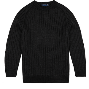 Sovrano Crew-Neck Woolen Jumper in Charcoal - Ron Bennett Big Men's Clothing - 1