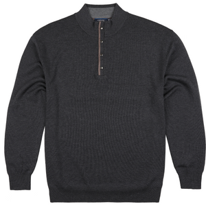 Sovrano Half Zip Turtleneck Jumper in Charcoal - Ron Bennett Big Men's Clothing - 1