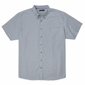 Nautica Short Sleeve Oxford Plaid Shirt in Della Robia Bue