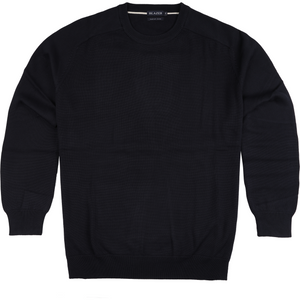 Blazer Owen Crew Neck Cotton Sweater in Navy - Ron Bennett Big Men's Clothing - 1