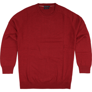 Blazer Owen Crew Neck Cotton Sweater in Red - Ron Bennett Big Men's Clothing - 1