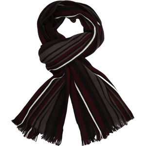 Sovrano Cotton Scarf in Burgundy Stripe - Ron Bennett Big Men's Clothing