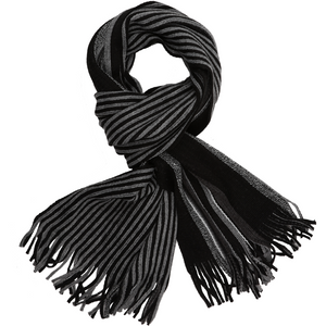 Sovrano Cotton Scarf in Black Stripe - Ron Bennett Big Men's Clothing