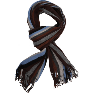 Sovrano Cotton Scarf in Brown Stripe - Ron Bennett Big Men's Clothing