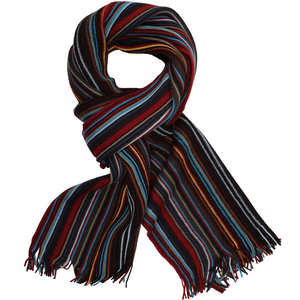 Sovrano Cotton Scarf in Red Multi-stripe - Ron Bennett Big Men's Clothing