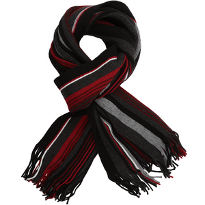 Sovrano Cotton Scarf in Red Stripe - Ron Bennett Big Men's Clothing