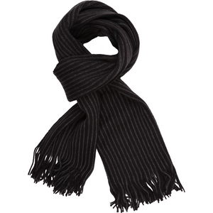 Sovrano Cotton Scarf in Charcoal Stripe - Ron Bennett Big Men's Clothing